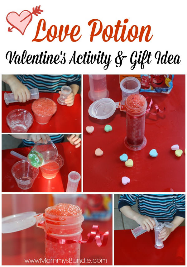 {Valentine Love Potion} One of 25+ Cute Valentine Crafts for Kids rounded up on OneCreativeMommy.com {Come see them all and visit and pin your favorites}