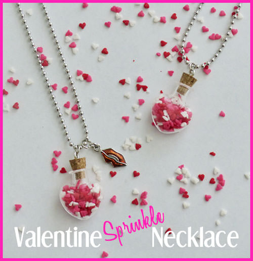 {Valentine Sprinkle Necklace} One of 25+ Cute Valentine Crafts for Kids rounded up on OneCreativeMommy.com {Come see them all and visit and pin your favorites}