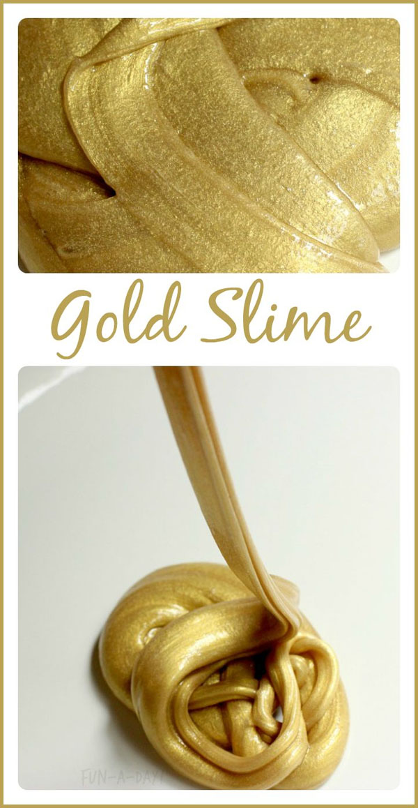 Awesome Gold Slime Recipe from Roundup of 19 Amazing St Patricks Day Crafts for Kids on OneCreativeMommy.com
