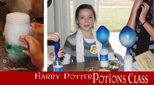 Harry Potter Party Ideas {OneCreativeMommy.com} Science Experiments in Potions Class!