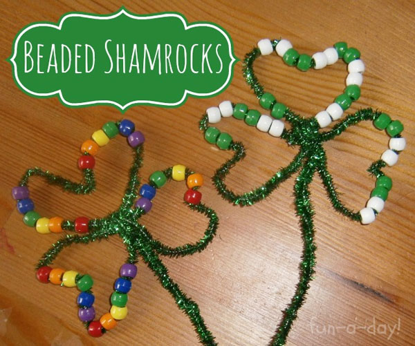 Adorable Beaded Shamrocks from Roundup of 19 Amazing St Patricks Day Crafts for Kids on OneCreativeMommy.com