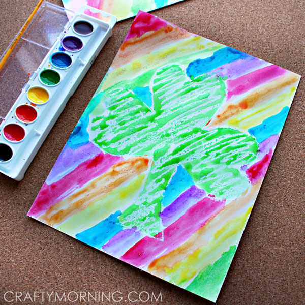 Fun Crayon Resist Shamrocks from Roundup of 19 Amazing St Patricks Day Crafts for Kids on OneCreativeMommy.com