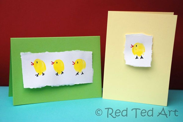 Cute Easter Kids Craft Roundup on OneCreativeMommy.com {Easter Chick Fingerprint Card Idea and more}