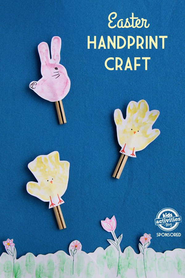 Cute Easter Kids Craft Roundup on OneCreativeMommy.com{Easter Handprint Craft idea and more}