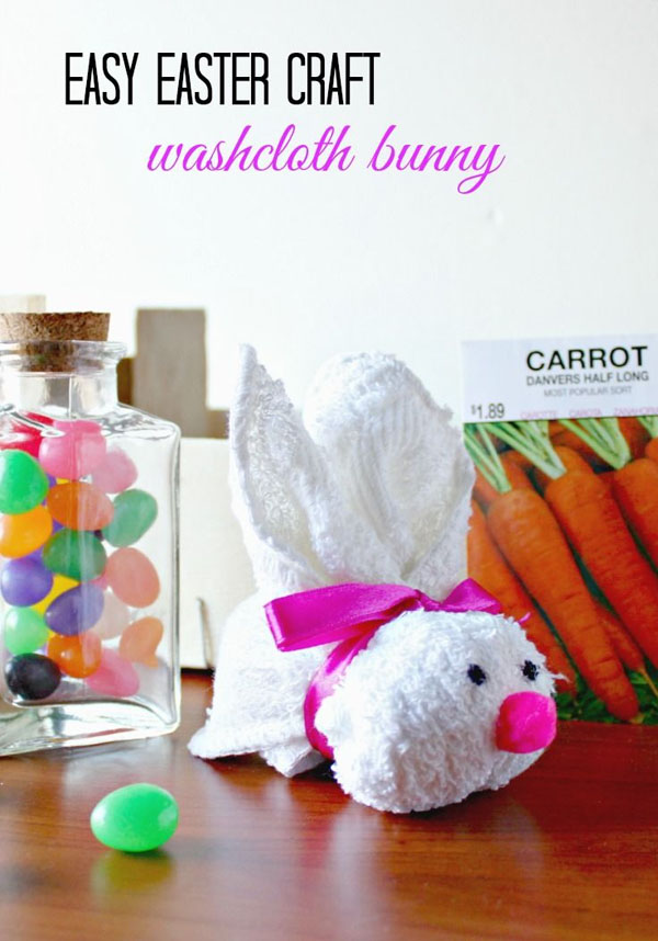 Cute Easter Kids Craft Roundup on OneCreativeMommy.com {Washcloth Bunny tutorial and more}