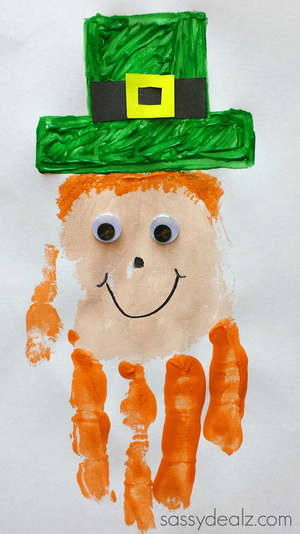 Clever Leprechaun Handprint Art from Roundup of 19 Amazing St Patricks Day Crafts for Kids on OneCreativeMommy.com