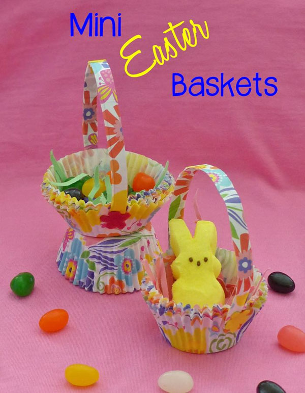 Cute Easter Kids Craft Roundup on OneCreativeMommy.com {Mini Easter Baskets Video Tutorial and more}