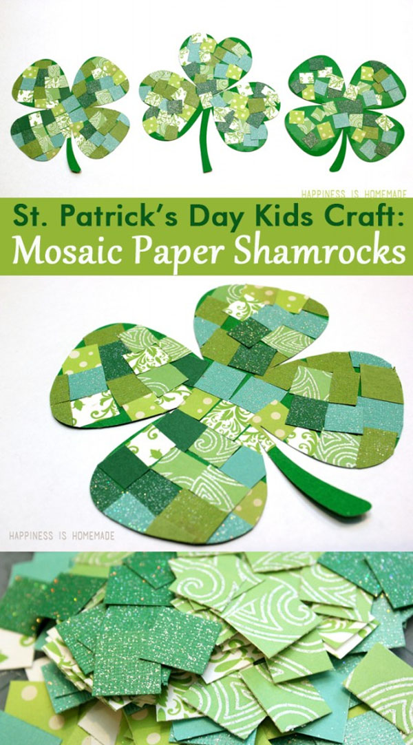 Cute Mosaic Paper Shamrocks from Roundup of 19 Amazing St Patricks Day Crafts for Kids on OneCreativeMommy.com