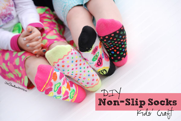 DIY Non-Slip Socks Kids Craft for Perfect for Slumber or Un-Slumber Party {OneCreativeMommy.com}