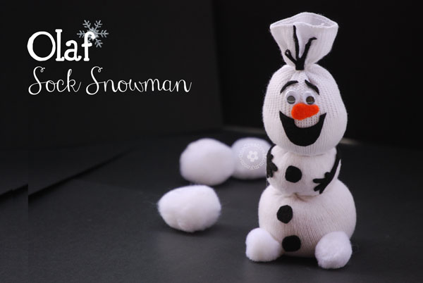 Do You Want To Build a Snowman? {Olaf Sock Snowman Tutorial from OneCreativeMommy.com} Perfect craft for a Frozen Party!