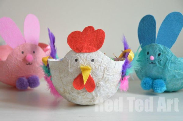 Cute Easter Kids Craft Roundup on OneCreativeMommy.com {Paper Mache Easter Baskets and more}