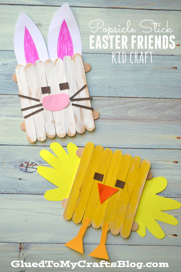 Cute Easter Kids Craft Roundup on OneCreativeMommy.com {Popsicle Stick Easter Friends Craft and more}