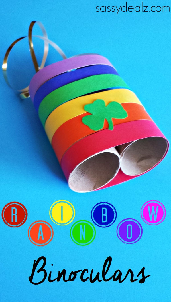 Adorable Rainbow Binoculars {Perfect for Spotting Leprechauns} from Roundup of 19 Amazing St Patricks Day Crafts for Kids on OneCreativeMommy.com