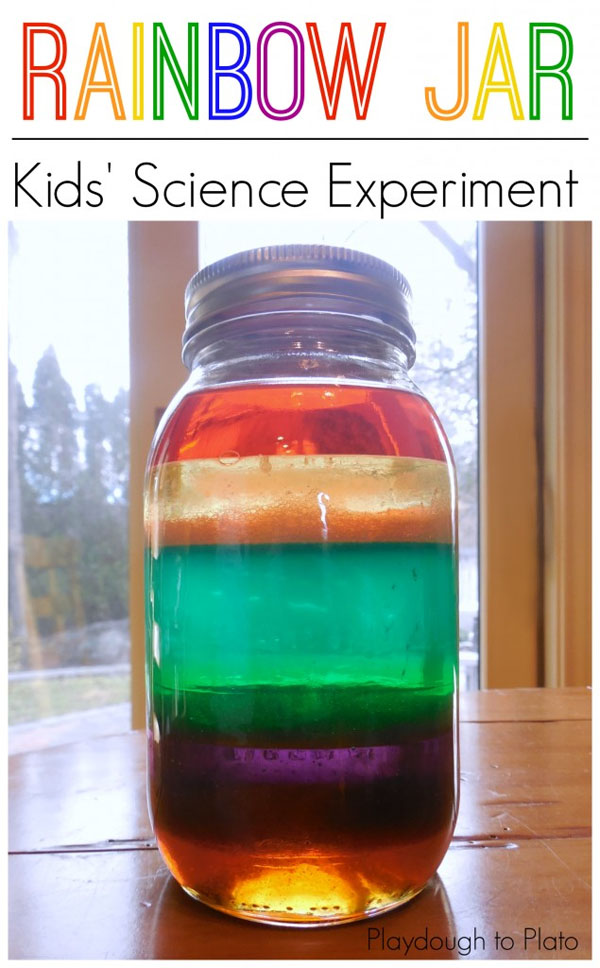 Amazing Rainbow Jar Kids Science Idea from Roundup of 19 Amazing St Patricks Day Crafts for Kids on OneCreativeMommy.com