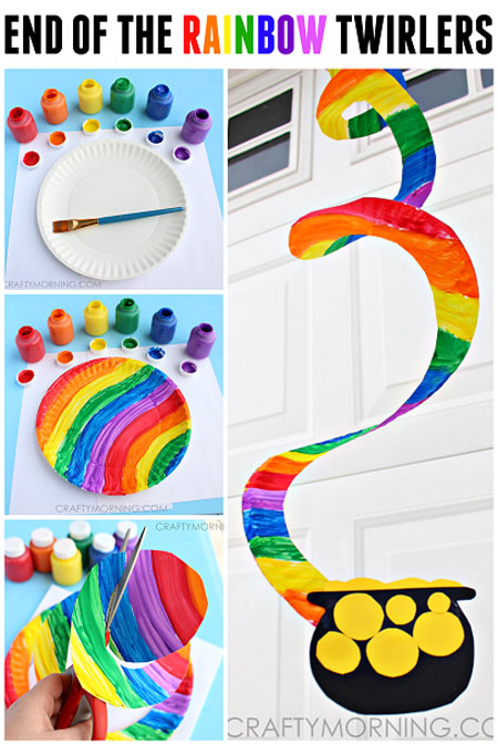 Cool Rainbow Twirlers Kids Craft from Roundup of 19 Amazing St Patricks Day Crafts for Kids on OneCreativeMommy.com