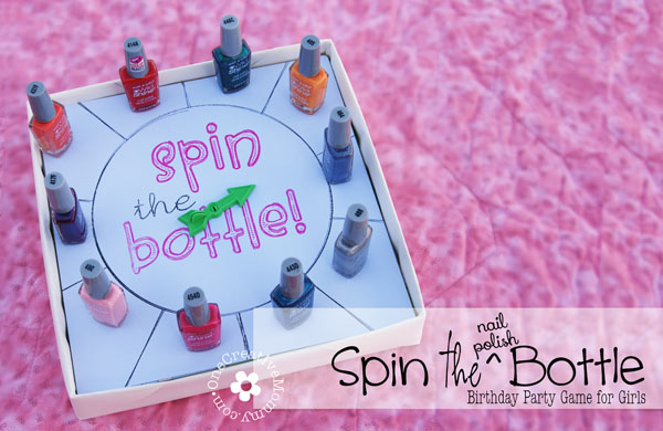 Spin the Nail Polish Bottle Party Game for Girls {OneCreativeMommy.com} Includes free Silouette and pdf files for spinner {Great for a slumber or un-slumber party}