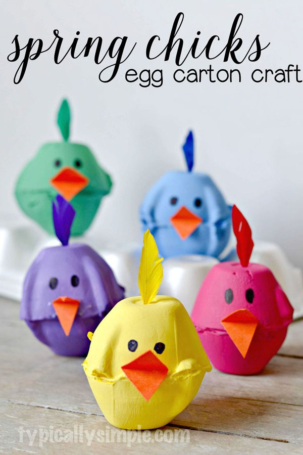 Cute Easter Kids Craft Roundup on OneCreativeMommy.com {Adorable Spring Chicks Egg Carton Craft and more}