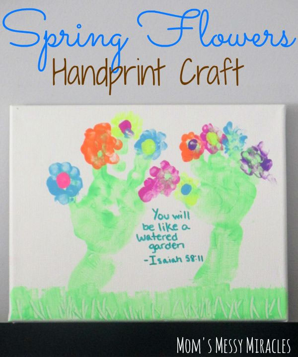 Easter Kids Craft Roundup on OneCreativeMommy.com {Spring Flowers Handprint Craft and More}