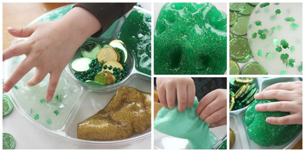 Amazing St. Patrick's Day Slime Recipes and Sensory Play Ideas from Roundup of 19 Amazing St Patricks Day Crafts for Kids on OneCreativeMommy.com