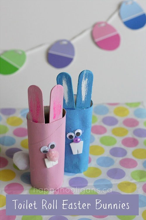 Easter Kids Craft Roundup on OneCreativeMommy.com {Toilet Paper Roll Bunnies and more}