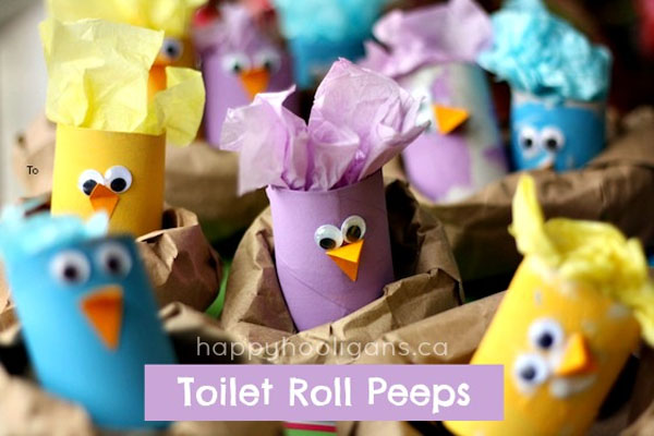 Cute Easter Kids Craft Roundup on OneCreativeMommy.com {Toilet Paper Roll Peeps and more!}