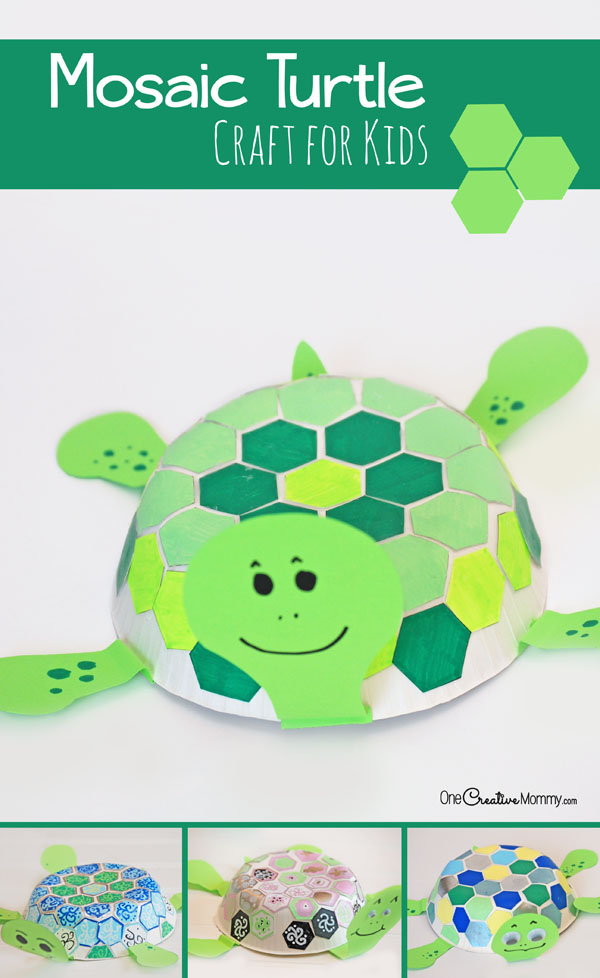 Mosaic Turtle Craft for Kids: Kid-Tested Fun! {Check out the tutorial for these cute turtles on OneCreativeMommy.com}