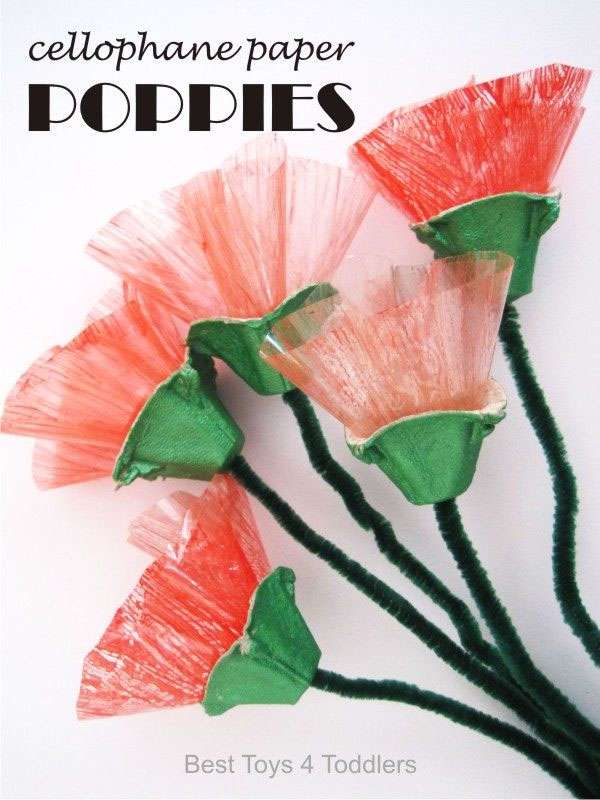 Cellophane Paper Poppies from Best Toys 4 Toddlers Vibrant Coffee Filter Flowers Tutorial from Fun at