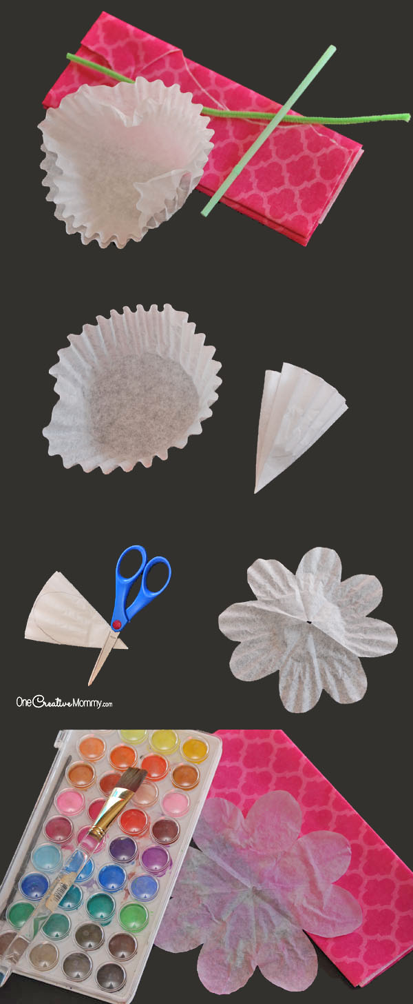 Gorgeous coffee filter flowers tutorial onecreativemommy these gorgeous paper flowers are simple and cheap to make easy coffee filter flowers mightylinksfo Images