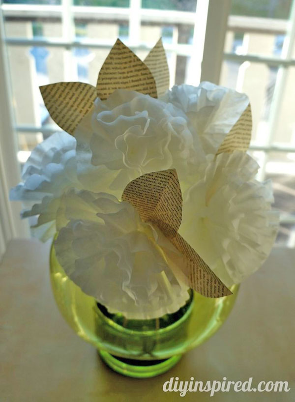 Coffee Filter and Newspaper Flowers from DIY Inspired Vibrant Coffee Filter Flowers Tutorial from Fun at Home with Kids {Featured on OneCreativeMommy.com} 19 Best Paper Flower Tutorials