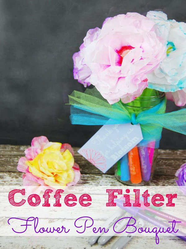 Coffee Filter Flower Pens from The Tip Toe Fairy Vibrant Coffee Filter Flowers Tutorial from Fun at Home with Kids {Featured on OneCreativeMommy.com} 19 Best Paper Flower Tutorials