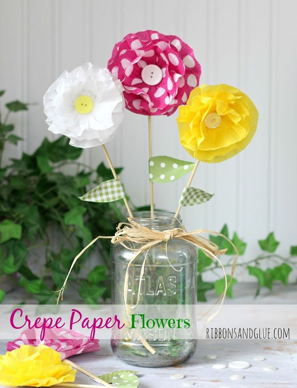 Best paper flowers tutorials for mothers day onecreativemommy cute crepe paper flowers from ribbons and glue vibrant coffee filter flowers tutorial from fun at mightylinksfo