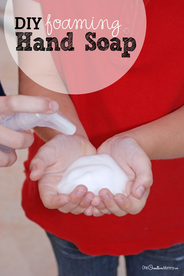One tutorial, two ingredients, and just three steps to never waste money on Foaming Hand Soap again! {OneCreativeMommy.com}