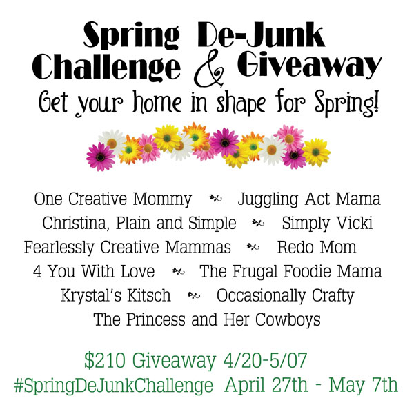 Join the 2015 Spring DeJunk Challenge and Organize and declutter your home for spring! We're giving away $210, so come check it out!