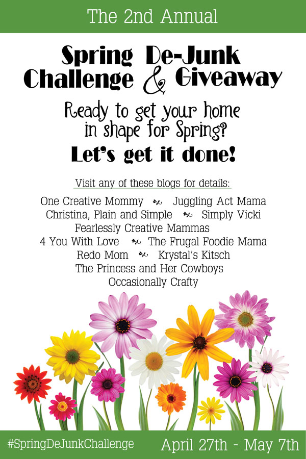 Join the 2015 Spring DeJunk Challenge and Organize and declutter your home for spring! We're giving away $210, so come check it out!Join the 2015 Spring DeJunk Challenge and Organize and declutter your home for spring! We're giving away $210, so come check it out!