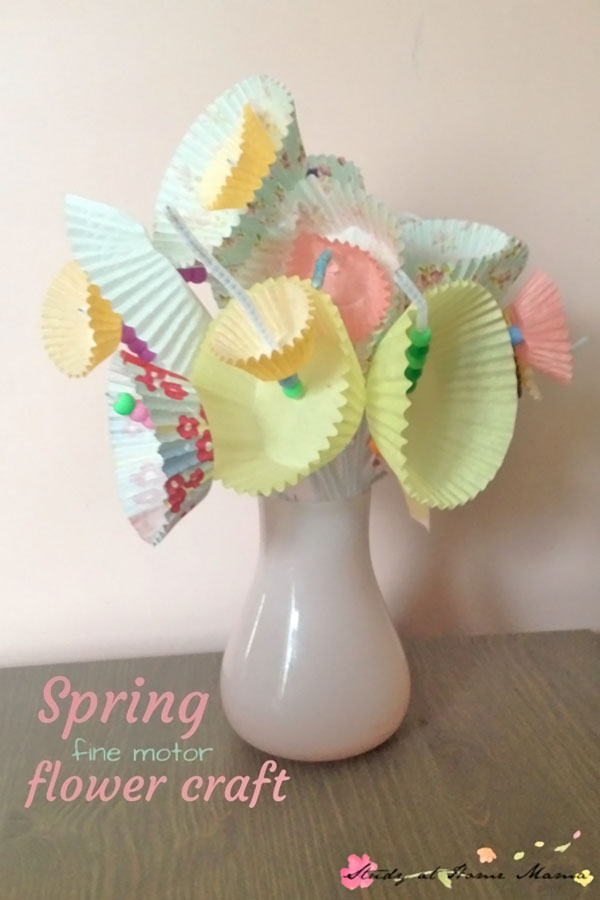 Easy Spring Flower Craft for Kids from Study at Home Mama Vibrant Coffee Filter Flowers Tutorial from Fun at Home with Kids {Featured on OneCreativeMommy.com} 19 Best Paper Flower Tutorials