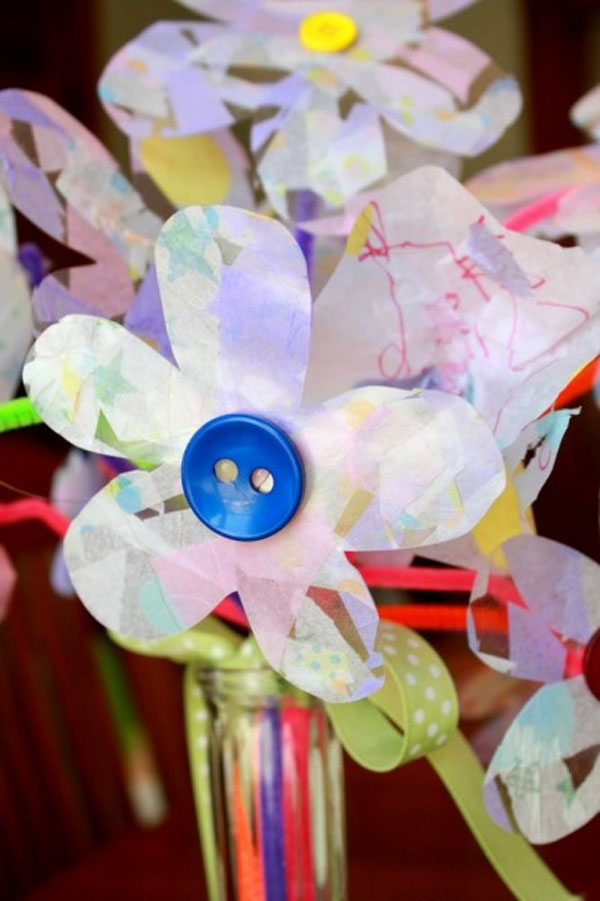 Tissue Paper Flowers with Buttons from Hands On As We Grow Vibrant Coffee Filter Flowers Tutorial from Fun at Home with Kids {Featured on OneCreativeMommy.com} 19 Best Paper Flower Tutorials