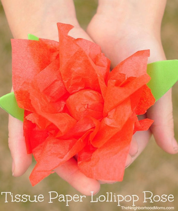 Tissue Paper Lollipop Roses by The Neighborhood Moms Vibrant Coffee Filter Flowers Tutorial from Fun at Home with Kids {Featured on OneCreativeMommy.com} 19 Best Paper Flower Tutorials
