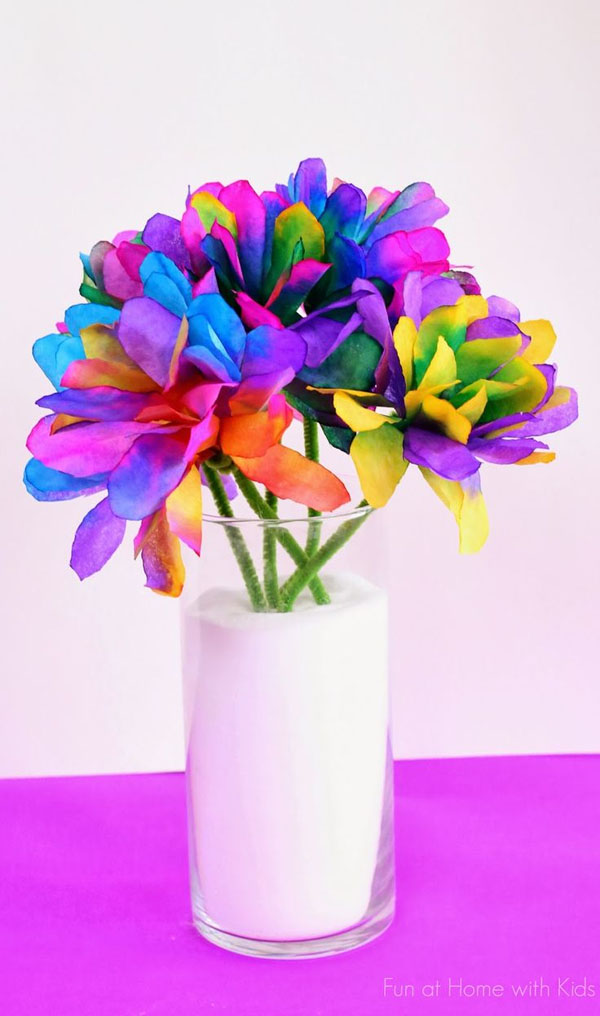 Vibrant Coffee Filter Flowers Tutorial from Fun at Home with Kids {Featured on OneCreativeMommy.com} 19 Best Paper Flower Tutorials