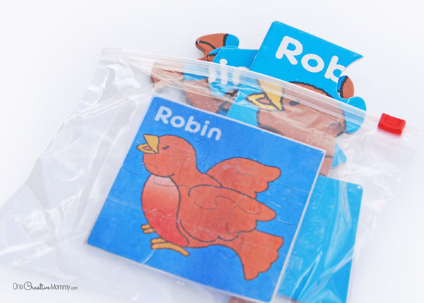 Perfect for church or the doctor's office, this puzzle busy bag idea is great for preschoolers and up. {OneCreativeMommy.com}