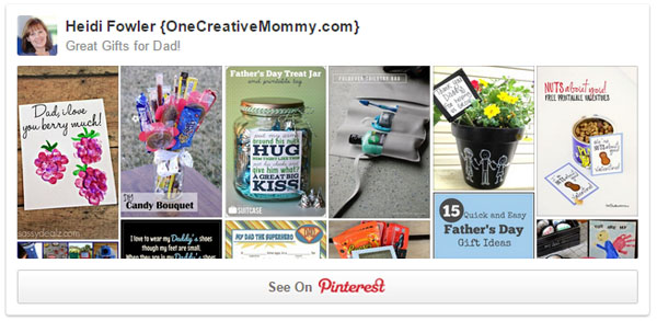 Great gifts for Dad Father's Day Pinterest Board from OneCreativeMommy.com