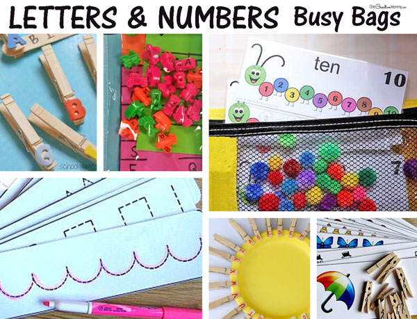 Love these busy bags! Lots of ideas for teaching kids about letters, numbers, writing, and counting {OneCreativeMommy.com}