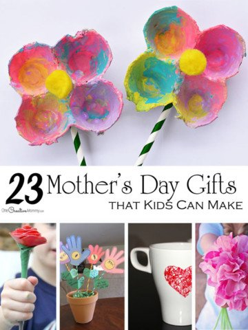 So many cute Mother's Day crafts for kids! Depending on their age, kids can make these with little or no help. {Roundup on OneCreativeMommy.com}