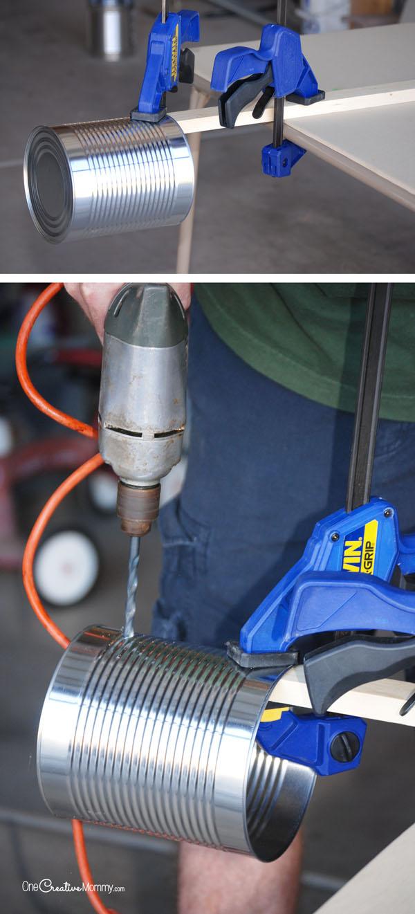 Tin Can Stilts -- Drill Setup