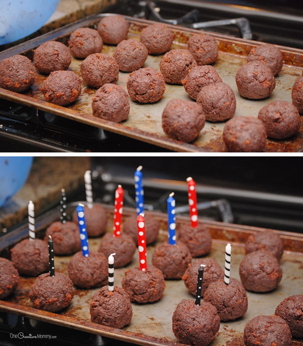 Love these easy 4th of July Cake Pops! With a candle, they're like mini firecrackers. So cute! {OneCreativeMommy.com}