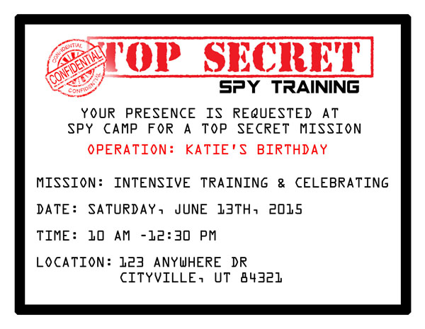Printable spy party invitations onecreativemommy cool printable spy party invitations just fill in the info and youre filmwisefo Image collections
