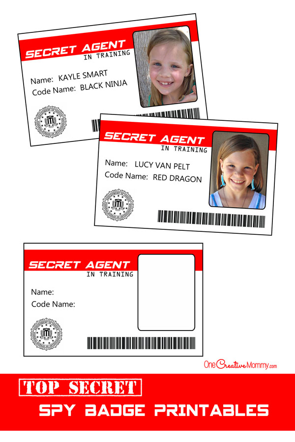Secret agent badge printable images for Spy id card template