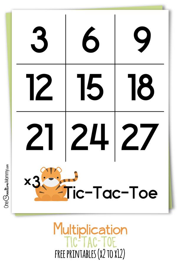Keep kids learning this summer with a fun Tic-Tac-Toe Multiplication Math game! Free printables for beginners and advanced learners. {OneCreativeMommy.com}