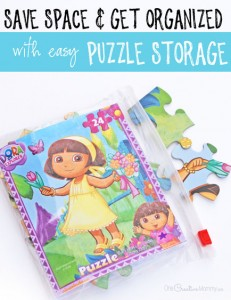 You won't believe how this mom organizes and saves space. I can't believe how many puzzles she fit in one bin! {OneCreativeMommy.com} Puzzle Storage Idea