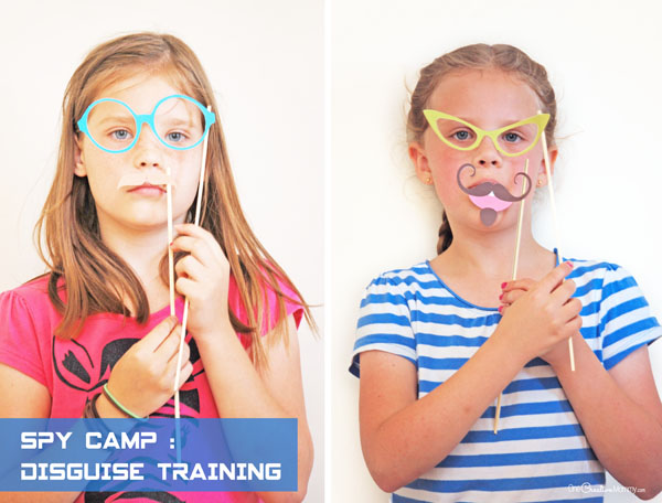 Top Secret Spy Training: Disguise Photo Booth Props {OneCreativeMommy.com}