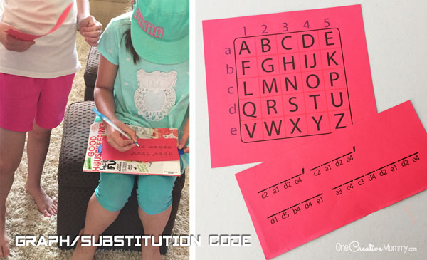 Graph Code Spy Birthday Party Mission Clue {OneCreativeMommy.com}